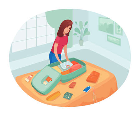 Young woman packing bag flat vector illustration. Smiling girl cartoon character. Happy young woman prepares for vacation. Holiday travel, summer trip