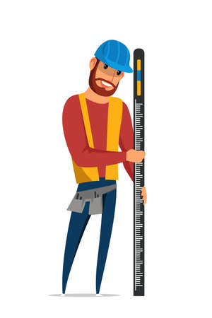 Builder with spirit level flat vector illustration. Carpenter in hard hat, repairman in vest cartoon character. Carpentry workshop service. Architecture, building business, construction industry Ilustração