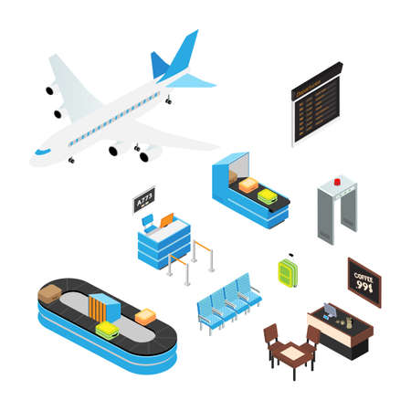 Airport isometric vector illustrations set. Airplane, tourist suitcase 3d isolated cliparts pack. Airport terminal, departure lounge seats, security check. X ray scanner, metal detector gates drawing