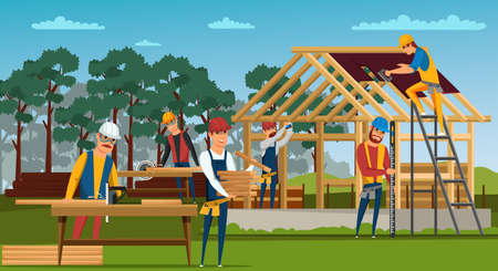 Roofing construction flat vector illustration. House building site, home walls and roof structure. Roofers, carpenters cutting wood male cartoon characters. Professional builders working drawing Ilustração