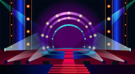 Empty stage flat vector illustration. Spotlight shining on podium. Projectors illuminating concert stage. Lighting effect on tv show. Modern interior of concert hall. Beginning of music event