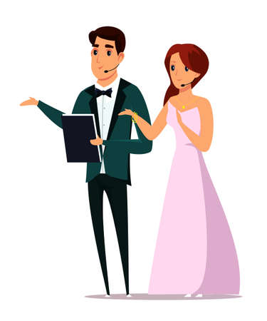 Event hosts flat vector illustration. Caucasian man and woman wearing luxury clothes cartoon characters on white background. Attractive male and female presenters on stage isolated clipart Vettoriali