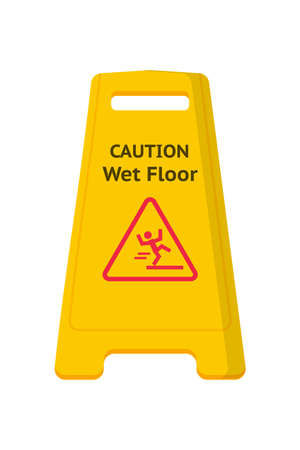 Wet floor caution sign flat vector illustration. Public warning yellow symbol isolated clipart on white background. Slippery surface beware plastic board design element. Falling human pictogram