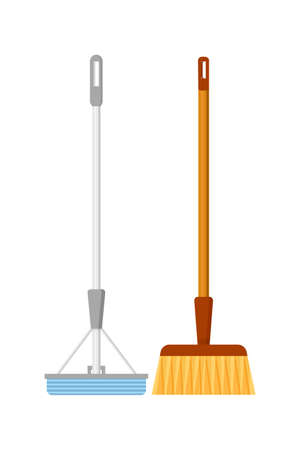 Modern mop and broom flat vector illustration. Floor washing and sweeping, housekeeping tools. Housekeeper, cleaner equipment. Household chores, housework, professional cleaning service attributes