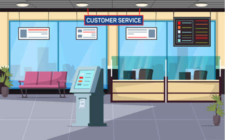 Customer service office flat vector illustration