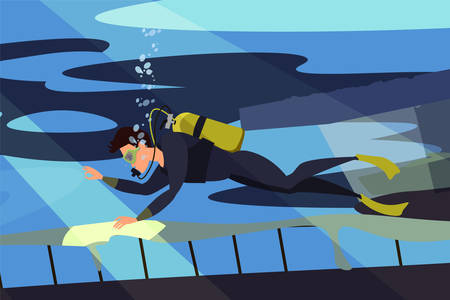 Scuba diver flat vector illustration. Diving, snorkeling, ocean marine life and sea bottom researching. Explorer holding map cartoon character