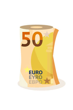 Fifty euro, money roll flat vector illustration. Cash, banknotes isolated on white background. Official European Union currency, 50 EUR. Salary payment, earnings, revenue decorative symbol Ilustração