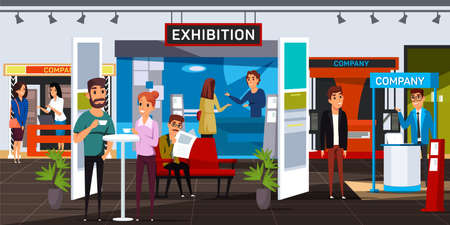 Business exhibition flat vector illustration. Corporate exposition visitors and exhibitors cartoon characters. Smiling men and women in expo center. Company product presentation, advertising Ilustración de vector