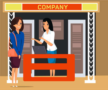 Business exhibition visitor flat illustration. Trade fair saleswoman near stand and customer talking cartoon vector characters. Job fair. Businesswomen communication isolated clipart on white background Ilustração