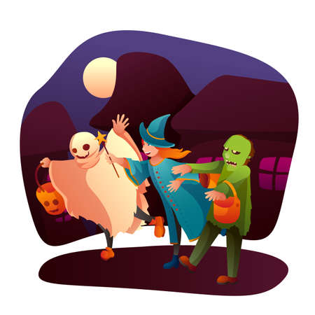 Kids trick or treating flat vector illustration. Little children in ghost, witch and zombie outfits cartoon characters. October holiday celebration, halloween tradition. Costume party, masquerade