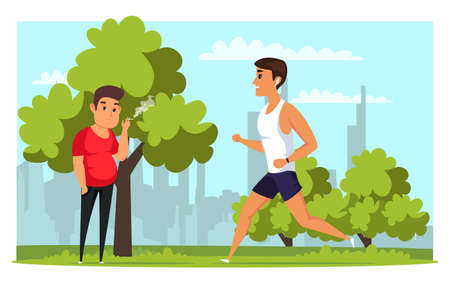 Sportsman and smoker flat vector illustration. Obese and slim people cartoon characters. Healthy and unhealthy lifestyle, recreation in park. Sad guy smoking cigarette. Happy young man jogging Ilustração