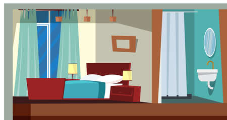Bedroom interior decor flat vector illustration