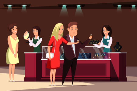 Jewelry store, boutique flat vector illustration. Jewels shop customers and workers cartoon characters. Couple buying engagement rings, woman trying on necklace, Luxury lifestyle, expensive shopping