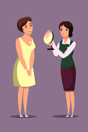 Lady trying on necklace flat vector illustration. Jewelry store customer and worker cartoon characters. Young woman choosing golden accessory. Female seller consultant holding mirror. Luxury lifestyle