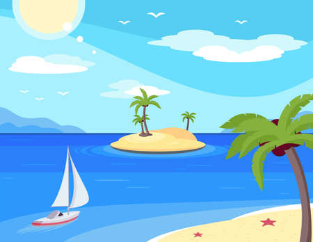 Tropical island flat vector illustration. Beach with palm trees. Summer holiday vacation on exotic sea resort. Sailing ship beside coast. Travel agency banner, poster background. Tropical paradise Ilustrace