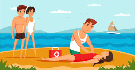 Lifeguard saving drowning flat vector illustration. Professional rescuer doing artificial respiration cartoon characters. Lifesaver giving first aid to woman. Frightened friends on beach