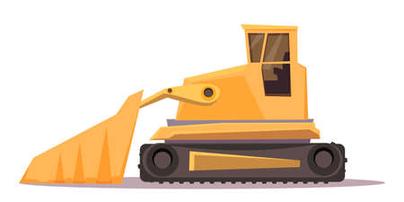 Bulldozer flat vector illustration. Mining industry transport. Transportation vehicle. Industrial, construction equipment. Tracked tractor transport equipped with metal plate. Auto for pushing soil Ilustração