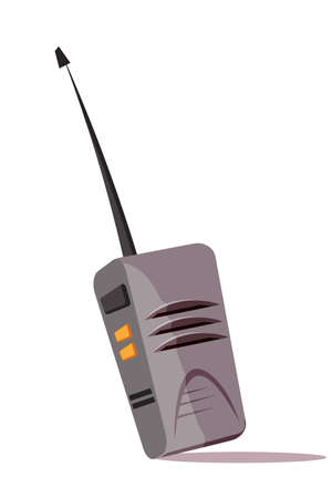Walkie talkie flat vector illustration. Telephone handset with speaker and microphone. Device with mounted antenna on top of unit. Equipment for safe bond, half-duplex communication phone