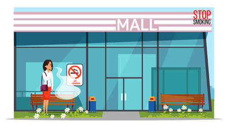 Fighting nicotine addiction banner template. Young woman smoking cigarette in forbidden place near shopping mall cartoon character. Female smoker violating smoking rules in public places Ilustração