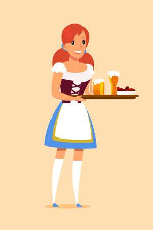 Waitress carrying tray in pub vector illustration. Employee in uniform. German restaurant, bar staff. Woman bringing order for customer. Octoberfest waitress. Beer, alcoholic beverage in bottle Ilustração
