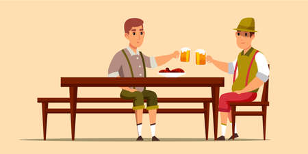 Octoberfest celebration flat vector illustration. People wearing traditional fest clothes, drinking beer, cheering cartoon characters. German beer festival. Guys having fun on festive event