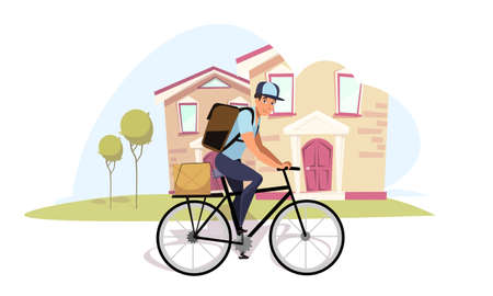 Postman on bicycle flat vector illustration. Cartoon mailman, messenger on bike wearing rucksack isolated character. Delivery guy riding on street, carrying parcel. Student, teenager odd job idea Ilustração