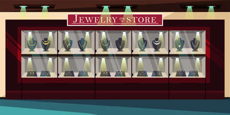 Jewelry store showcase flat vector illustration