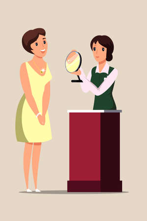 Lady trying on necklace flat vector illustration