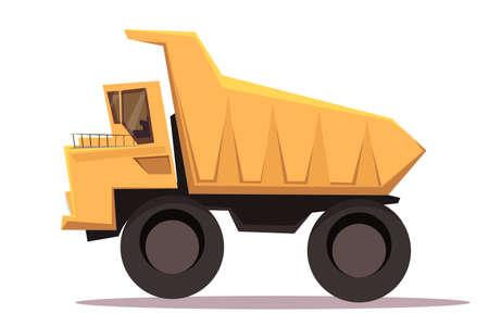 Dump truck flat vector illustration Vetores