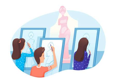 Art studio, school lesson flat vector illustration