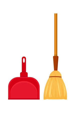 Broom and dustpan flat vector illustration