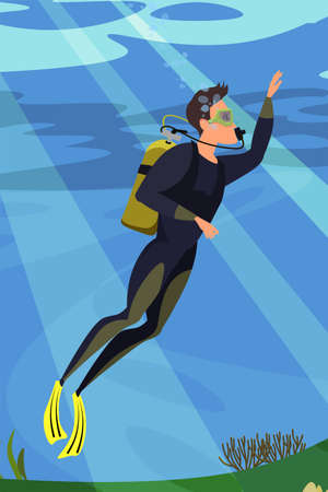 Scuba diver flat vector illustration Illustration