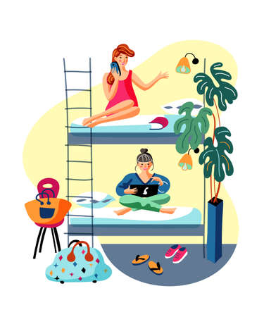 Dormitory room sharing flat vector illustration
