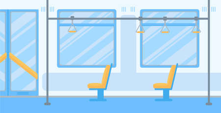 Empty public transport flat vector illustration