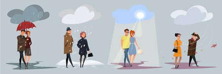 Four seasons weather flat vector illustrations set