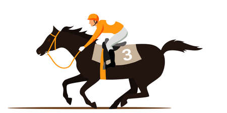 Horse racing competition flat vector illustration