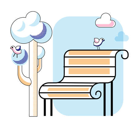 Empty bench in city park vector illustration 일러스트