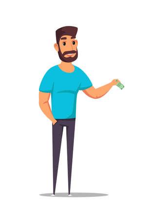 Man donating money flat vector illustration