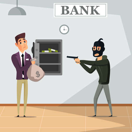 Bank robbery crime flat vector illustration Vettoriali
