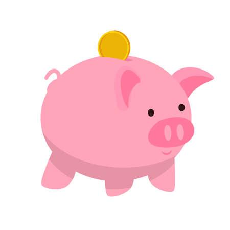 Piggy bank flat vector illustration Vettoriali