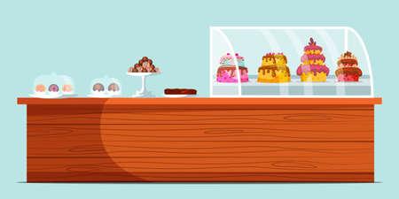 Confectionery showcase flat vector illustration