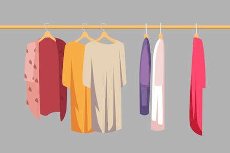 Clothes on hanger flat vector illustration Illusztráció
