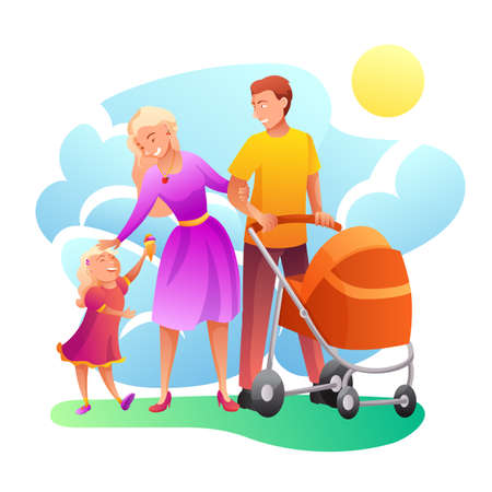 Family outdoor walking flat illustration