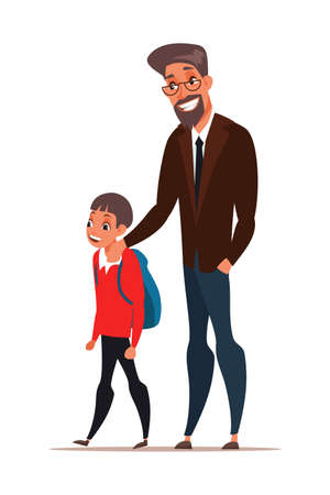 Dad taking son to school vector illustration Banque d'images - 141540142