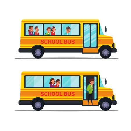 School bus flat vector illustrations set Illustration