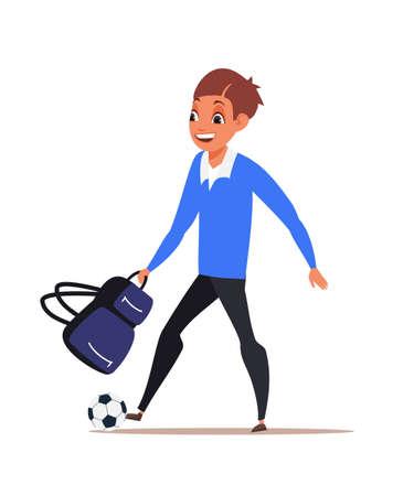 Schoolboy flat vector illustration