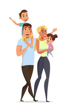 Parents with children flat vector illustration
