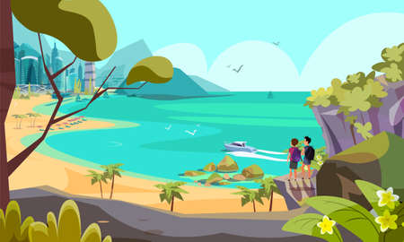 Tropical vacation flat vector illustration