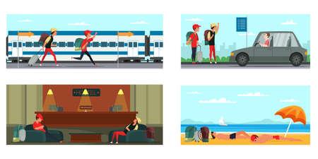 Tourists adventure flat vector illustrations set