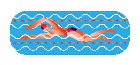 Man in pool flat vector illustration. Young athlete swimming isolated on white background. Sportsman on triathlon competition cartoon character. Healthy lifestyle and wellness concept